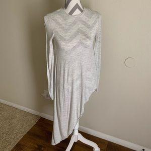 Light Gray Zara Long Sleeve Asymmetrical Shirt SzS